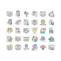 Buying medicine online color icons set vector
