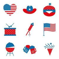 Independence day flat style icon set vector