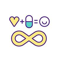 Maintaining good health by taking medication color icon vector