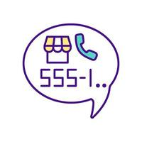 Telephone number with handset color icon vector