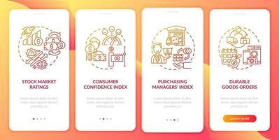 Consumer confidence index onboarding mobile app page screen with concepts vector