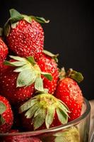 Macro close up of strawberries in a glass