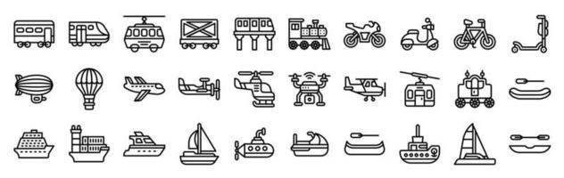 estilo de línea de conjunto de iconos vectoriales relacionados con el transporte vector