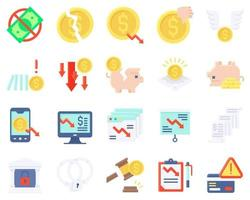 conjunto de iconos vectoriales relacionados con la quiebra estilo plano vector