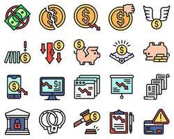 conjunto de iconos vectoriales relacionados con la quiebra estilo relleno vector