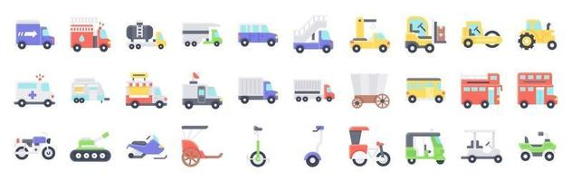 Transportation related vector icon set flat style
