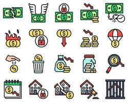 Bankruptcy related vector icon set, filled style