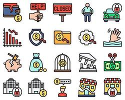 Bankruptcy related vector icon set filled style
