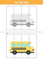 Cut and glue game for kids. Cartoon school bus. vector