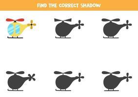 Encuentra la sombra correcta del helicóptero. rompecabezas lógico para niños. vector