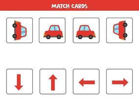 izquierda, derecha, arriba o abajo. Orientación espacial con coche de dibujos animados. vector