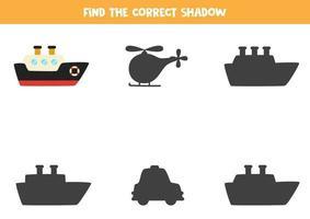 Encuentra la sombra correcta del barco. rompecabezas lógico para niños. vector