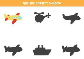 encuentra la sombra correcta del plano. rompecabezas lógico para niños. vector