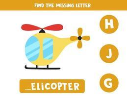 Encuentra la letra que falta con un helicóptero de dibujos animados. hoja de trabajo de ortografía. vector