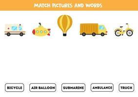 transporte coincidente y las palabras. juego educativo para niños. vector