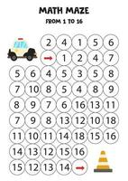 Get police car to the traffic cone by counting to 16. Kids math game vector