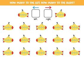 izquierda o derecha con submarino. hoja de trabajo lógica para niños en edad preescolar. vector