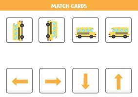 izquierda, derecha, arriba o abajo. Orientación espacial con autobús escolar de dibujos animados. vector