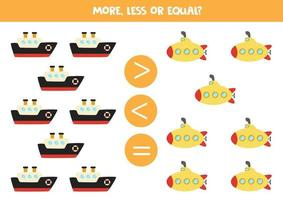 More, less, equal with cartoon ship and submarine. educational worksheet vector