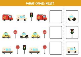 What comes next game with cartoon transport. vector