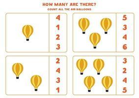 juego de matematicas. cuente todos los globos de aire. juegos temáticos de transporte. vector