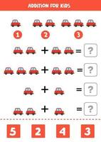 Addition worksheet with cartoon red car. Math game. vector