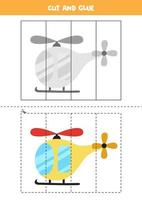Cut and glue game for kids. Cartoon helicopter. vector