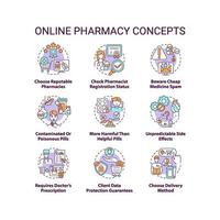 Conjunto de iconos de concepto de farmacia en línea vector