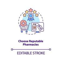 Choose reputable pharmacies concept icon vector