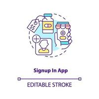 Signup in app concept icon vector