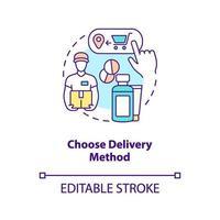 Elija el icono del concepto de método de entrega vector