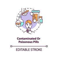 Icono de concepto de píldoras contaminadas o venenosas vector