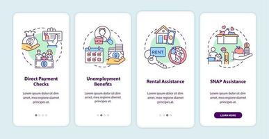 Covid relief package benefits onboarding mobile app page screen with concepts vector