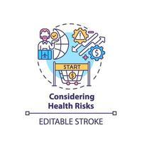 considerando el icono del concepto de riesgos para la salud vector