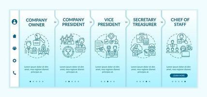 Company top management jobs onboarding vector template