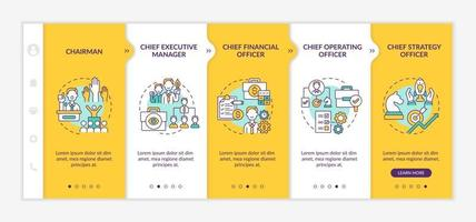 Top management positions onboarding vector template