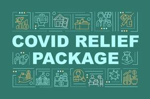 Covid relief package word concepts banner vector
