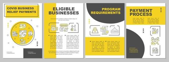 Covid business relief payments brochure template vector