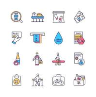 Conjunto de iconos de colores de las normas de seguridad del aeropuerto vector