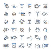 Conjunto de iconos de colores de tecnología reproductiva