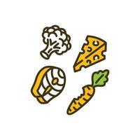 icono de color de nutrición adecuada vector