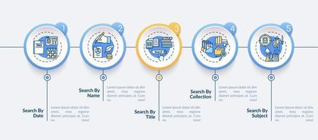 plantilla de infografía de vector de acceso a información de biblioteca en línea