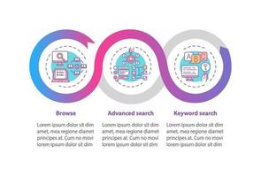 plantilla de infografía de vector de optimización de proceso de búsqueda