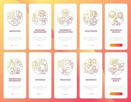entrevistas y cuestionario de incorporación de la pantalla de la página de la aplicación móvil con el conjunto de conceptos vector