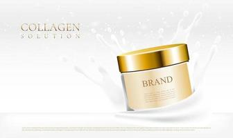 Skin care cream jar with cream splash and white background vector