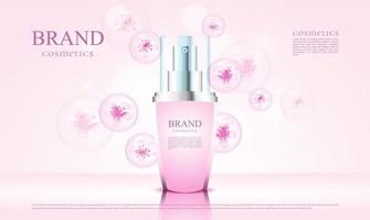luxury cosmetics blossom with 3d packaging and pink flower illustration vector