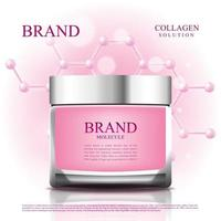 Cosmetic jar to reduce aging with molecule and 3d packging vector
