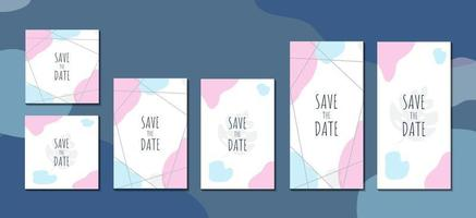 Set of abstract invitation cards minimalist concept template vector