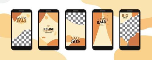 Venta online de plantilla abstracta en smartphone vector