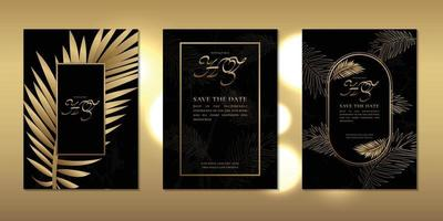 Luxury wedding invitation card decorated with golden leaves and beautiful frame template vector